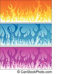 set of fire backgrounds