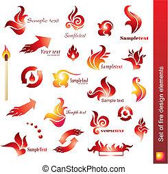 set of fire design elements