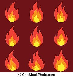 Set of fire flame icon with shadow. Vector illustration