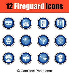 Set of fire service icons.