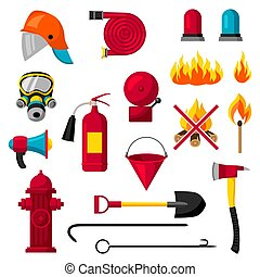 Set of firefighting items. Fire protection equipment