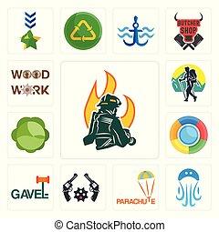 Set of firemen, jellyfish, parachute, revolver, gavel, , cabbage, trekking, woodwork icons