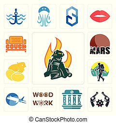 Set of firemen, revolver, bank, woodwork, aeroplane, trekking, chick, mars, couch icons