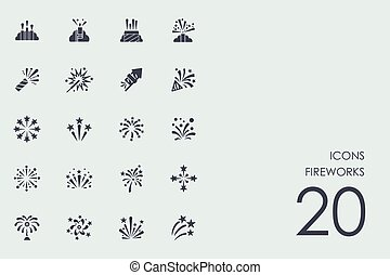 Set of fireworks icons - fireworks vector set of modern...