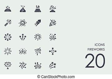 Set of fireworks icons - fireworks vector set of modern...