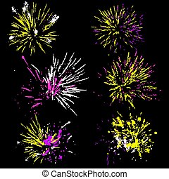 Set of fireworks silhouette. Colorful vector illustration.