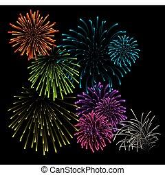 Set of fireworks vector illustrations
