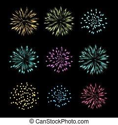 Set of Fireworks, vector object