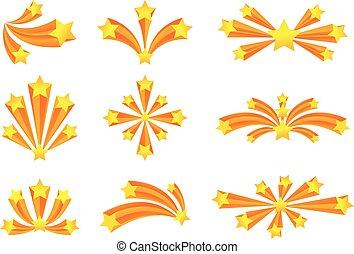 Set of fireworks with stars. Vector illustration on white background.