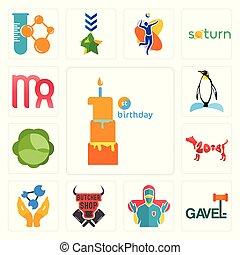 Set of first birthday, gavel, surgeon, butcher shop, chemist, year the dog, cabbage, penguin, virgo icons
