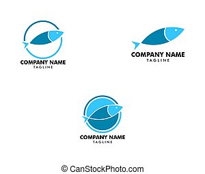 Set of Fish Logo abstract design vector template, Seafood shop store restaurant Logotype concept icon