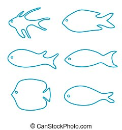 set of fish silhouettes- vector illustration