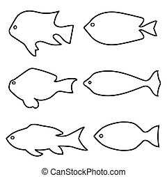set of fish silhouettes - vector illustration