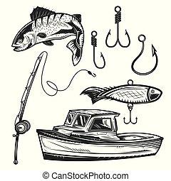 Set of fishing elements