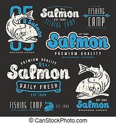 Set of fishing labels in retro style