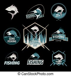 Set of fishing logos, emblems, badges