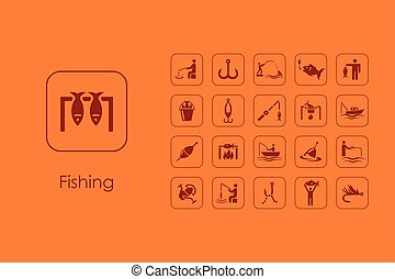 Set of fishing simple icons - It is a set of fishing simple...