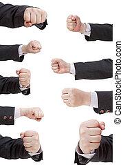 set of fist punch - hand gesture