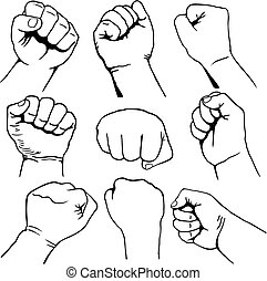 Set of fists vector - Set of nine fist icons black line-art ...