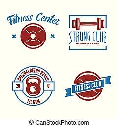 Set of fitness emblems, signs, labels, badges, logos and designed elements.