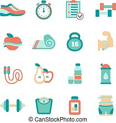 Set of fitness flat icons. Vector illustration