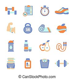 Set of fitness flat icons