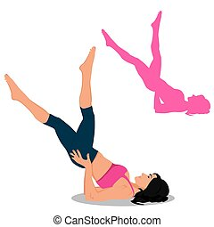 set of fitness icons, Pilates, vector illustration