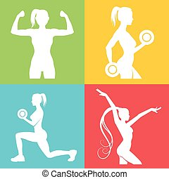 Set of fitness logo with woman silhouettes. Woman in...