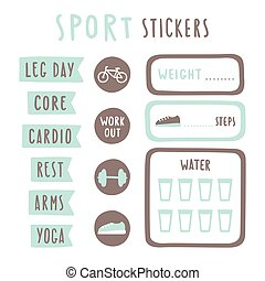 Set of fitness planning stickers. Printable.