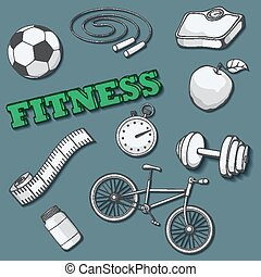 Set of fitness, sport and healthy lifestyle. Vector illustration.