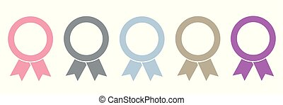 set of five award medals on white background