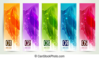 abstract headers - set of five banners, abstract headers