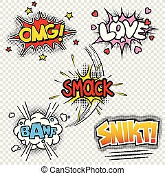 vector illustrations of comic sound effects