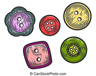 Set of five buttons. Apparel print design. Scratch board imitation. Color hand drawn image.