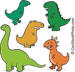 Set of five cartoon dinosaurs for kids