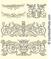 Set of five classical ornaments