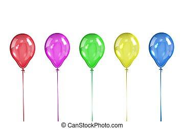 Set of five colored transparent balls