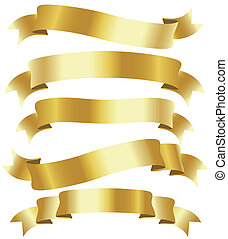 golden ribbons - set of five curled golden ribbons,...