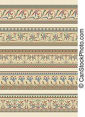 Set of five decorative borders ornamental