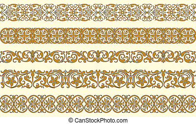 Set of five decorative borders