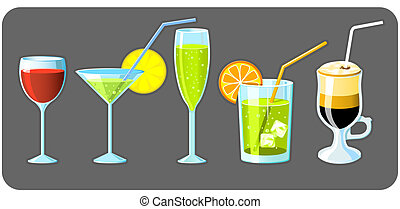 Set of five different glasses with drinks