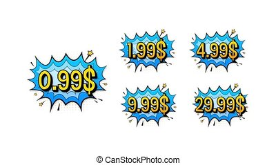 Set of five discount labels. Pop art, comic books style. Motion graphics.