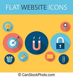 Set of Five Flat Circle Website Icons