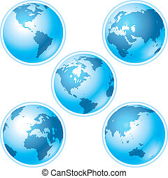 Set of five globes on white background