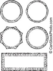 Set of five grunge vector templates for rubber stamps