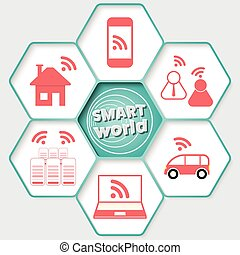 Set of five hexagons for your text and icon with the words smart world