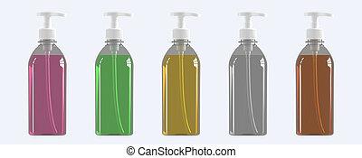 Set of five plastic bottles with dispenser. 3D render