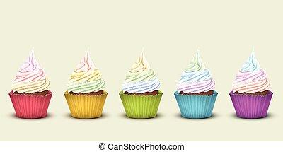 Set of five rainbow cupcakes
