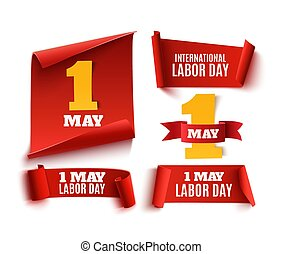 Set of five red, realistic,1 may labor day banners.