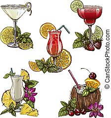 Set of five summer cocktails, vector illustration, color...